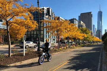 fall leaves with ebike on bike path