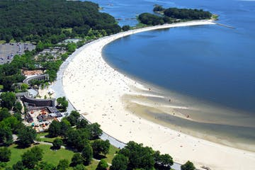 overhead view of orchard beach with sand and water