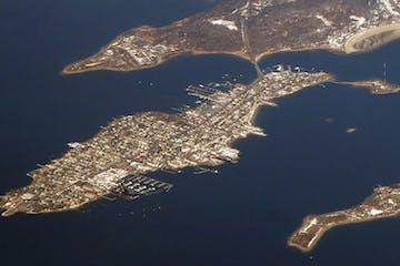 overhead view of nyc and water