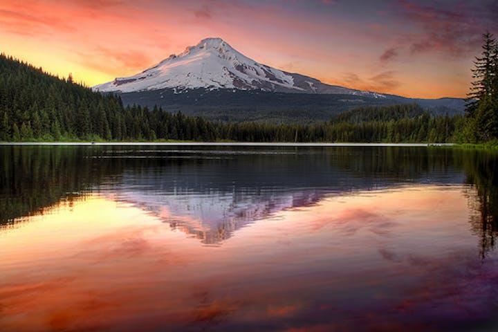 Sunset on Mt Hood next to Trillium Lake