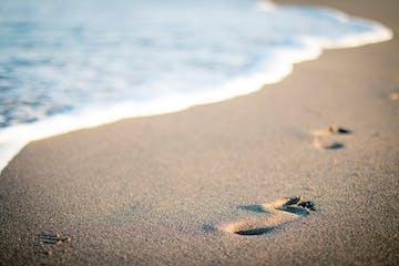 footprints on a beach