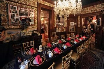 An elaborate dining room in a mansion