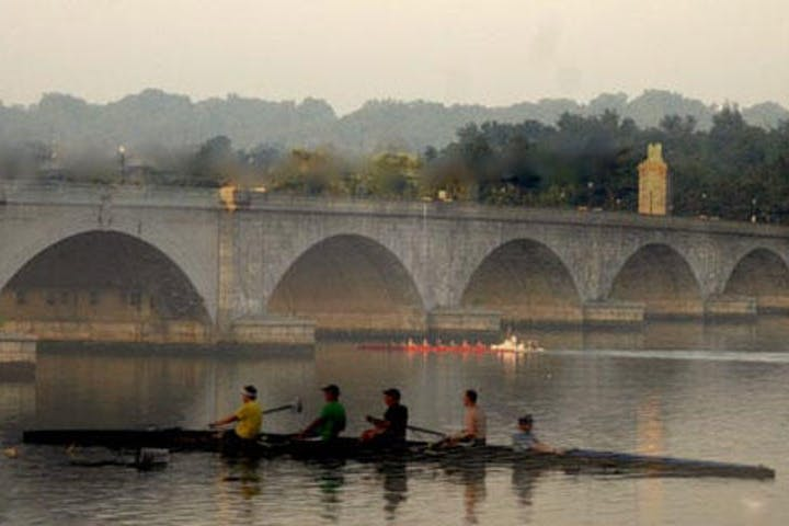 Four rowers on the Potomac River