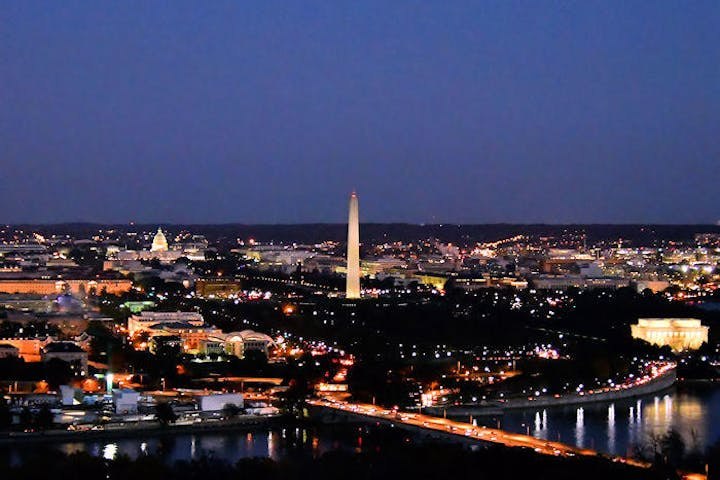 An over head view of the nation's capital at night