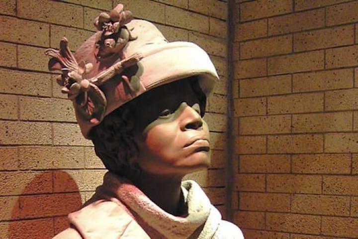 A statue in a museum