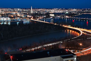 A view of bridges in DC at night