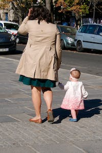 Mother and Daughter ut for a walk in Paris