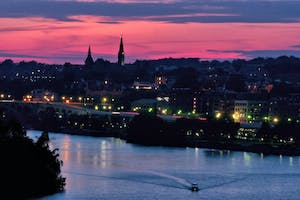 Potomac River and Georgetown at Sunset from the Kennedy Center Rooftop Terrace