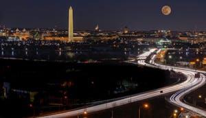 Moonrise over Washington, DC from Arlington, VA
