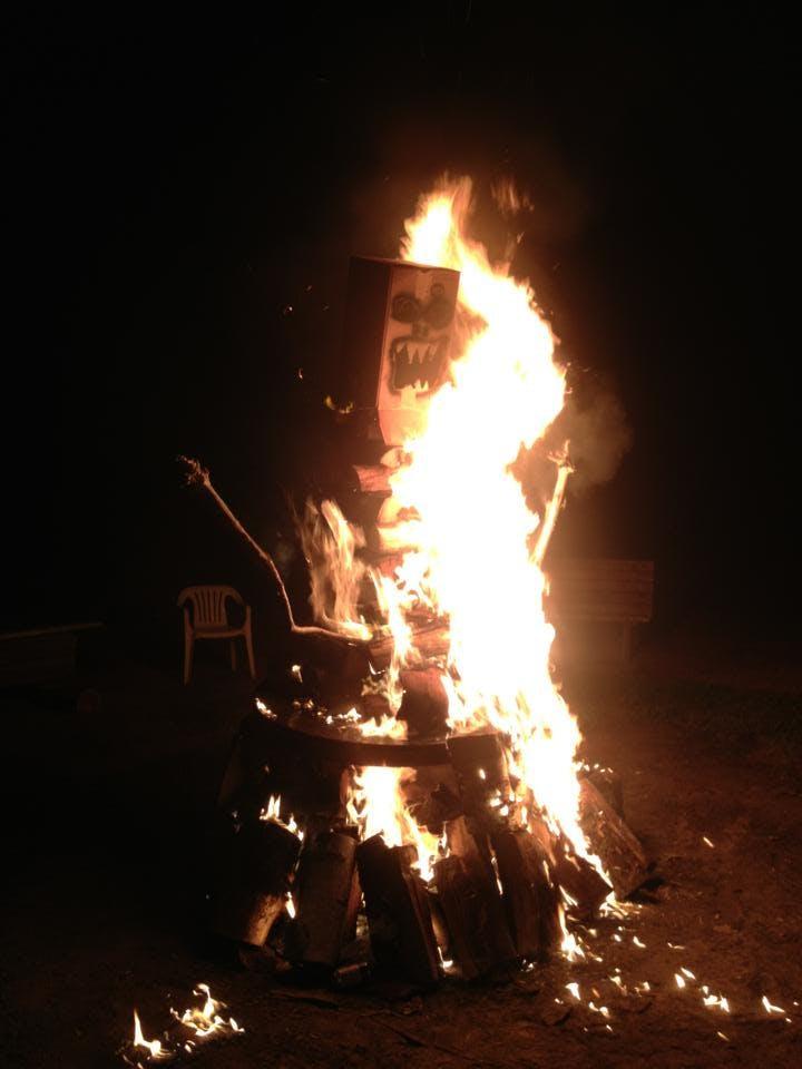 a bonfire monster in Door County