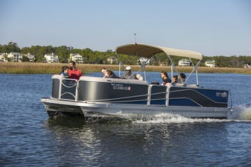 Pontoon boat on the water