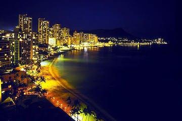 Waikiki beach at night