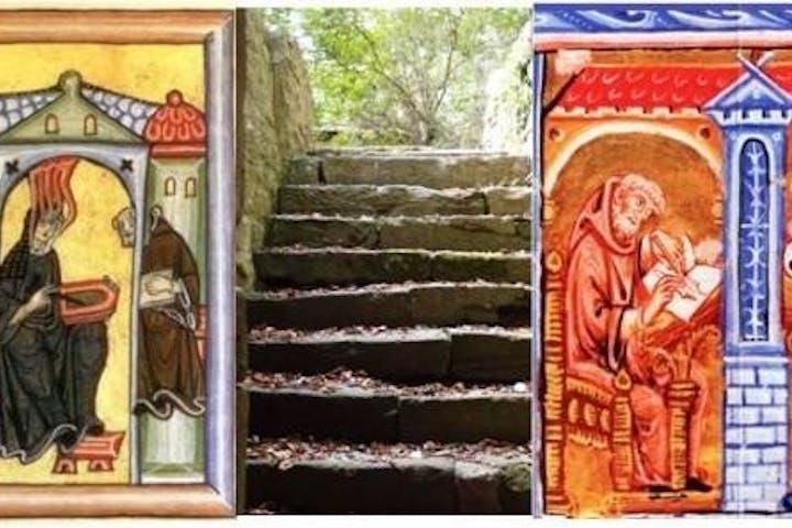 Stufen draußen und zwei alte Gemälde rechts und links mit auf das Foto draufgemacht