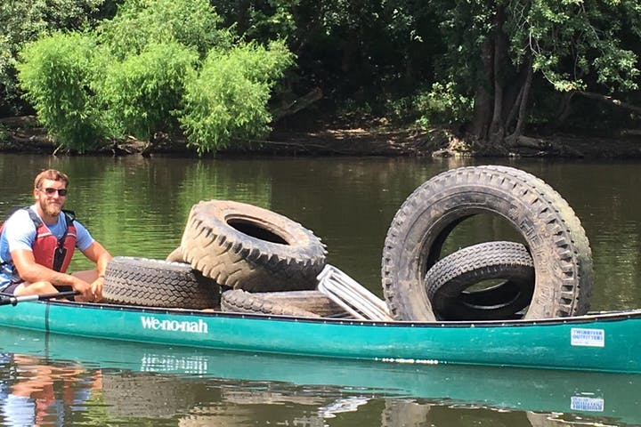 A canoe with tires