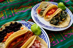 Mexican tacos on plates