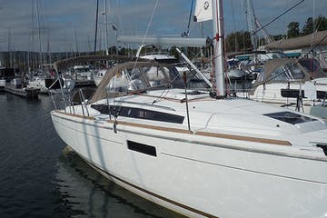 Side view of Bella sailboat while in harbor