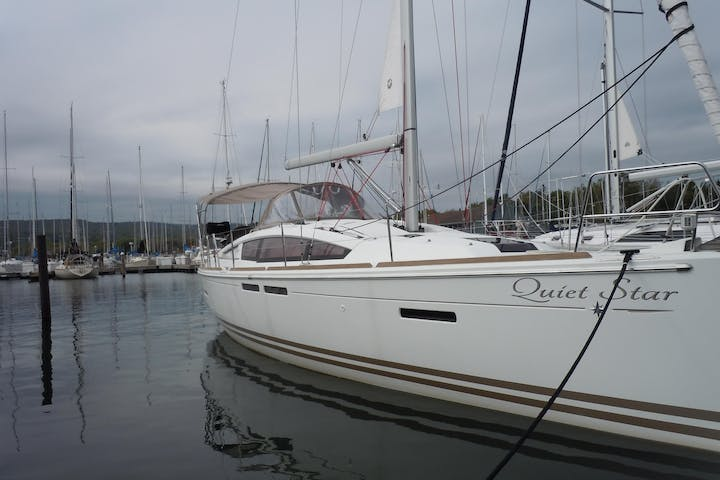 Side view of Quiet Star sailboat