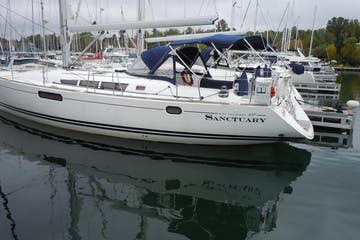 Side view of Sanctuary sailboat