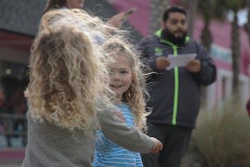 Two children on scavenger hunt
