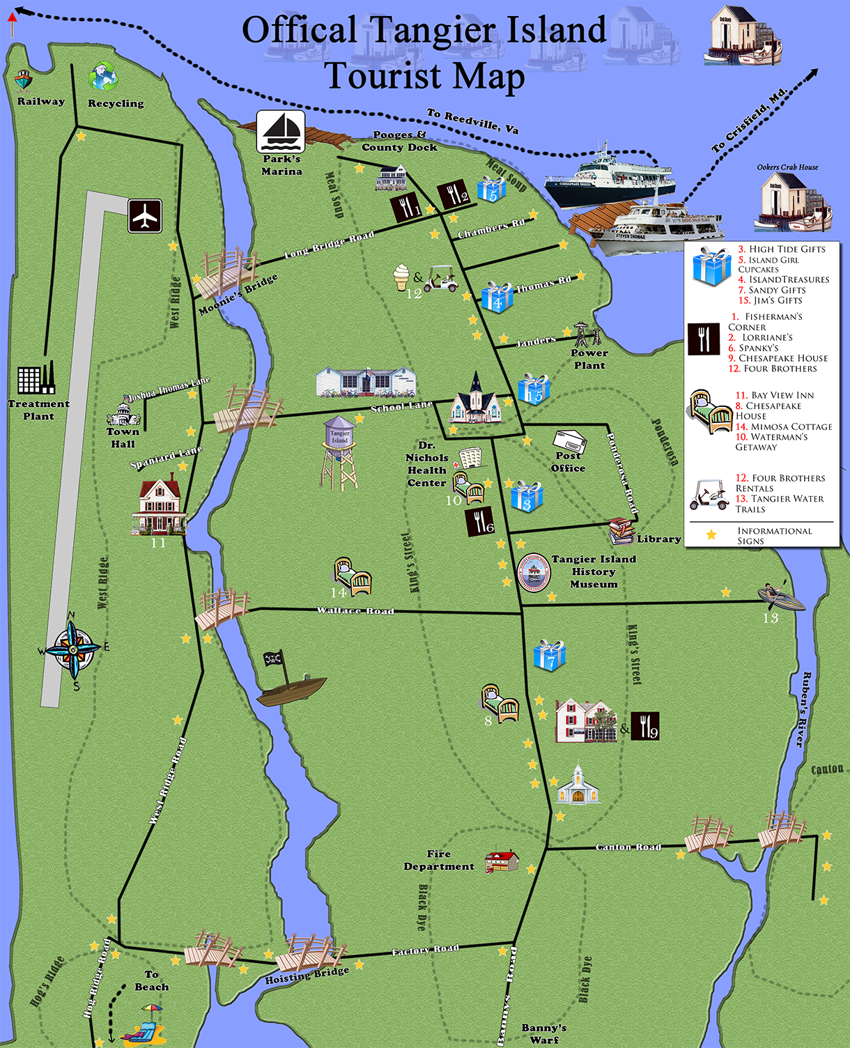 Click here to view tangier island tourist map