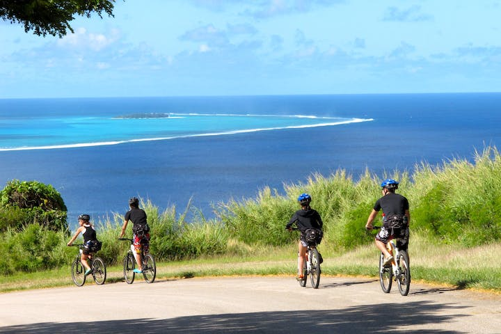 A group of guests enjoying a bike ride