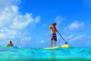A man on his stand up paddleboard