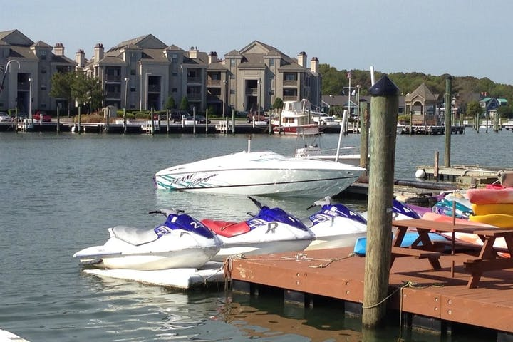 Sport boat docked at Virginia Beach