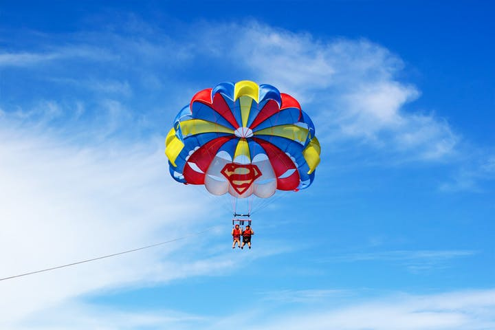 Colorful parasail taking flight in Virginia Beach, VA