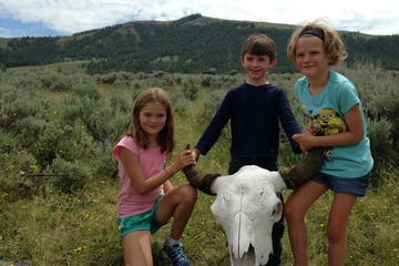 kids with bison skull
