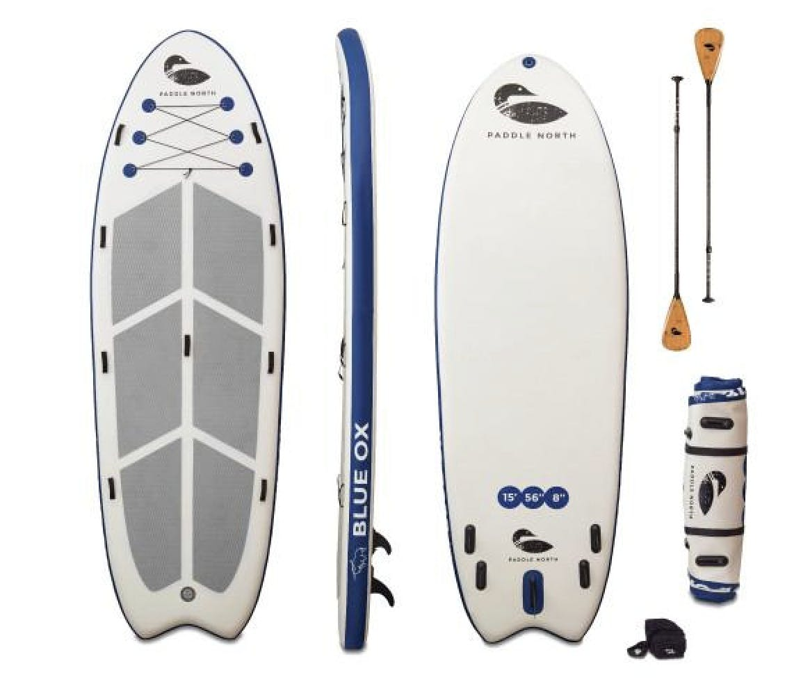 View of top, bottom and sides of a regular standup paddleboard