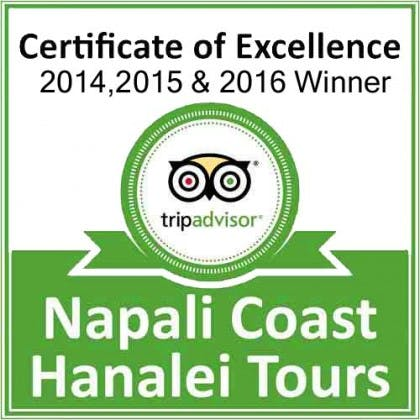 Napali Coast Hanalei Tours tripadvisor certificate of excellence