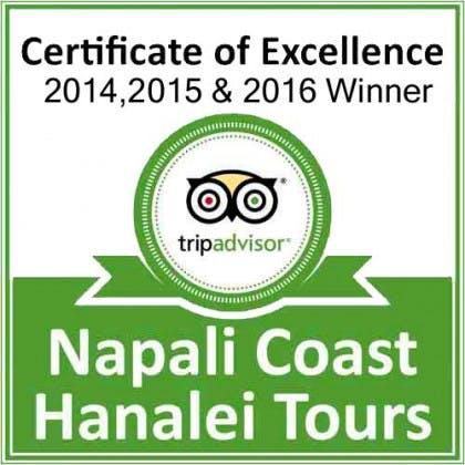 Napali Coast Hanalei Tours tripadvisor certificate of excellence