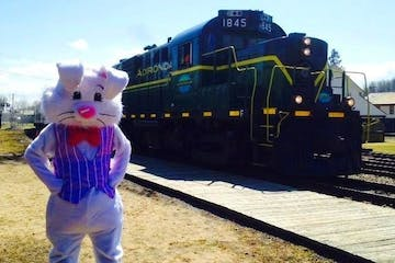 easter bunny outside train