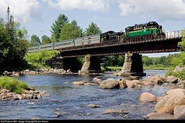 train going over bridge