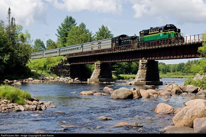 train going over bridge