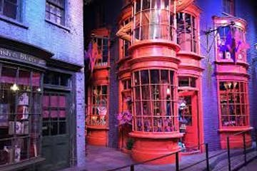 Harry Potter film set showing a red house with big windows