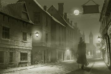 Black and white Jack the Ripper image walking through an empty street at night