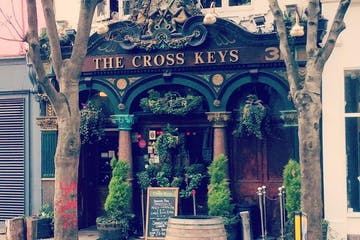 Outside of a pub called The Cross Keys