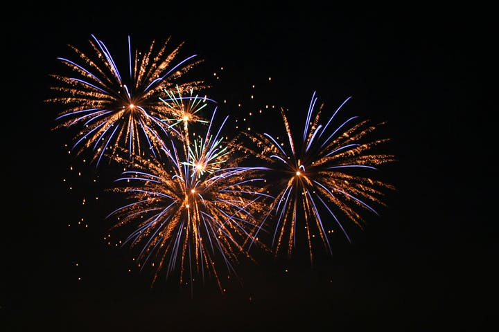 fireworks at night in sky
