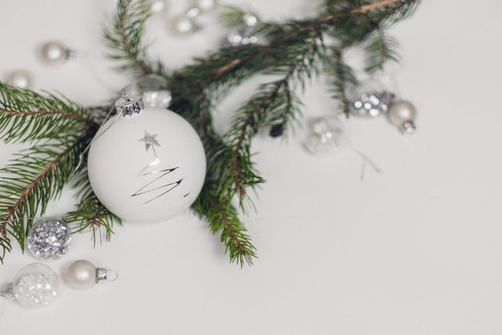 white christmas ornament with pine branches