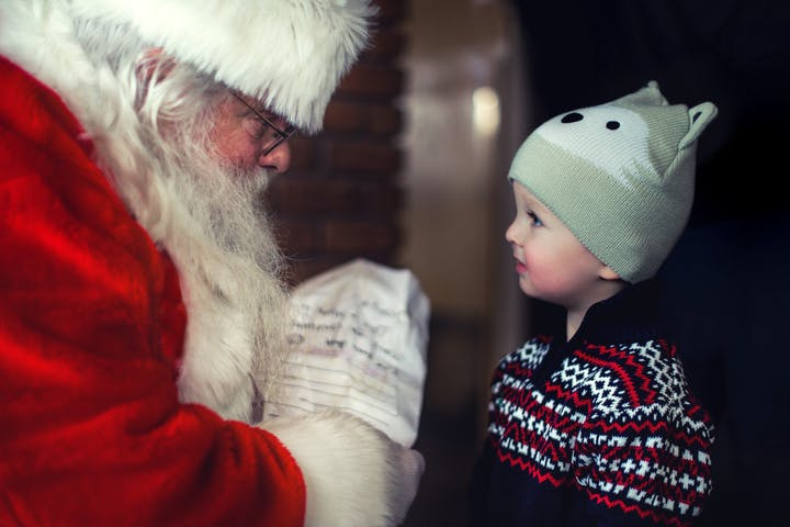 santa with little boy
