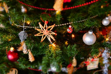 christmas ornaments close up on christmas tree
