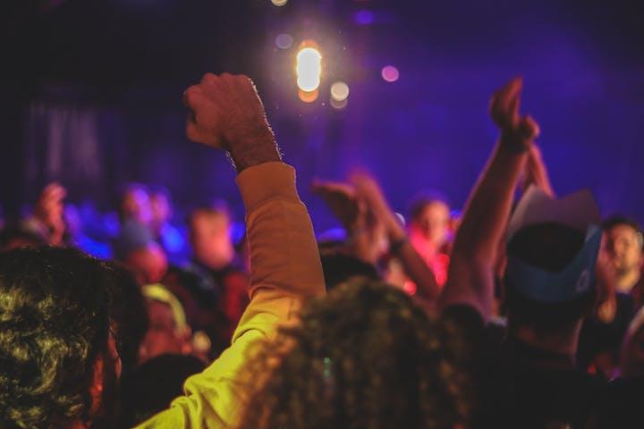 crowd dancing at a club