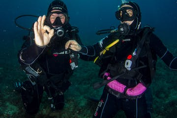 Two divers in scuba diver