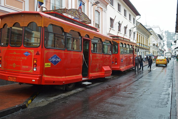 A Gray Line Trolley in Quito