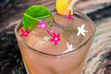 """Malie"" with Koloa Coconut Rum, kaffir lime leaves, fresh Hawaiian guava juice and essence of lemon. Photo courtesy of RumFire Poipu Beach"