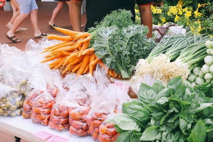 Seaford and vegetables at restaurant on Kauai, Hawaii