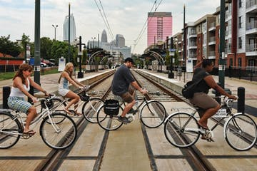 People riding bikes in Charlotte, NC