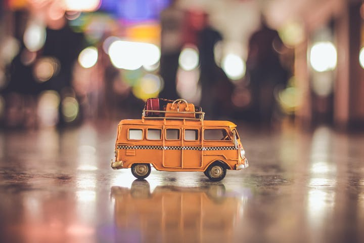 A miniture of a bus with blurred background