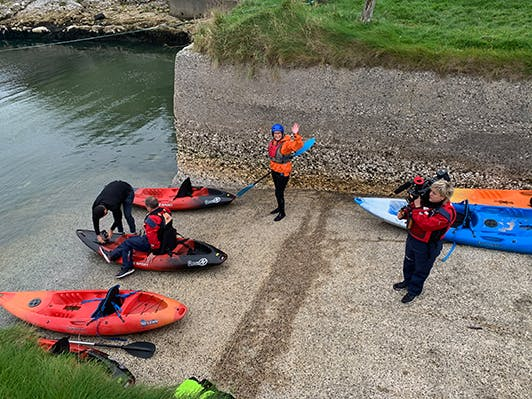 sea kayaking at ballintoy harbour